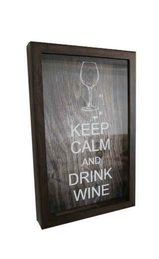 Box for wine corks Keep Calm And Drink Wine Wenge